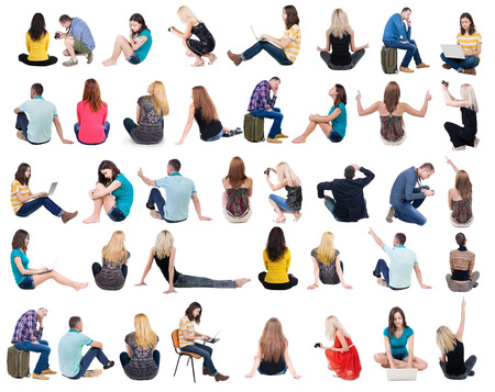 Photo pour Collection back view of sitting people.  .  backside view of person.  Rear view people set. Isolated over white background. - image libre de droit