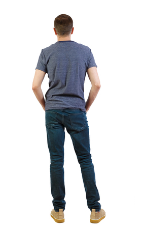 Photo pour Back view of man in dark jeans. Standing young guy. Rear view people collection.  backside view of person.  Isolated over white background. A guy in summer clothes is standing with his back in his jeans. - image libre de droit