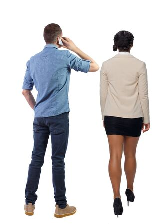 Photo for Back view of business woman and business man in suit with mobile phone. Business team. Rear view people collection. backside view of person. Isolated over white background. - Royalty Free Image