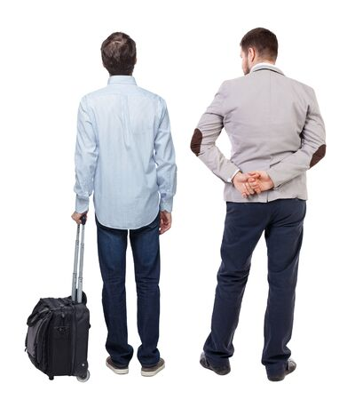 Photo for Back view of two business men in suit pointing. Business team. traveling with suitcas. Rear view people collection. backside view of person. Isolated over white background. - Royalty Free Image