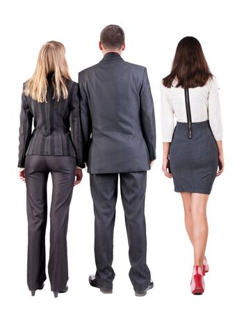 Photo for Back view group business people in suit. Business team. Rear view people collection. backside view of person. Isolated over white background. - Royalty Free Image