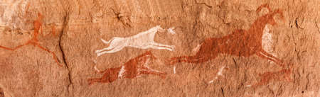 Photo pour Prehistoric Petroglyphs - Rock Art - Akakus (Acacus) Mountains, Sahara, Libya - image libre de droit