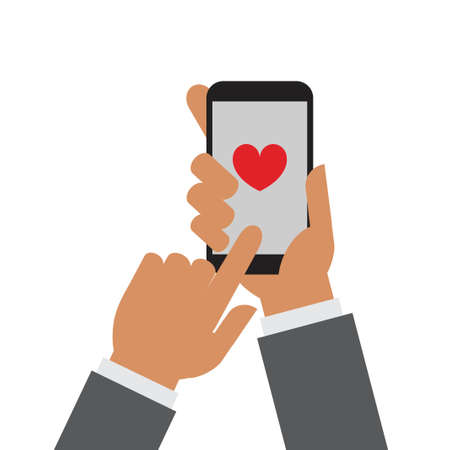 Ilustración de Hand holding mobile phone with a heart on the screen - Imagen libre de derechos