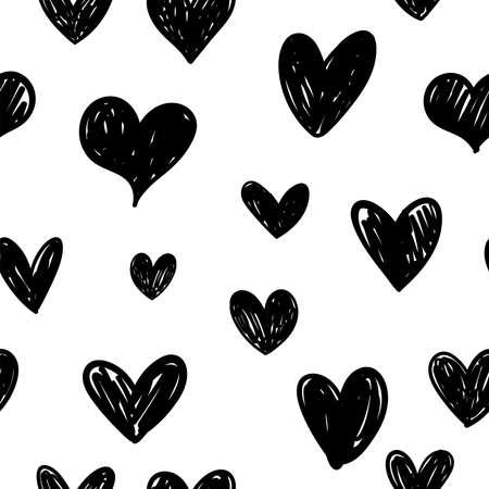Ilustración de Hearts doodles pattern. Seamless texture of heart illustrations. Love background. - Imagen libre de derechos