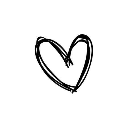 Ilustración de Heart doodle icon, symbol of love. Hand drawn illustration. - Imagen libre de derechos