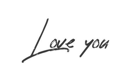 Ilustración de Love you, hand drawn lettering text. Handwritten style type. - Imagen libre de derechos