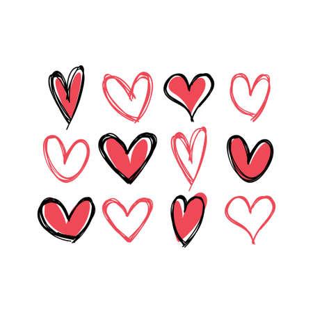 Ilustración de Heart doodles collection. Hand drawn hearts. Vector illustration set. - Imagen libre de derechos