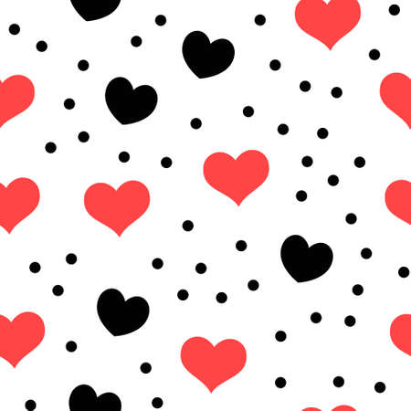 Ilustración de Hearts and dots seamless pattern. Loop texture background. Valentine's day love theme design. - Imagen libre de derechos