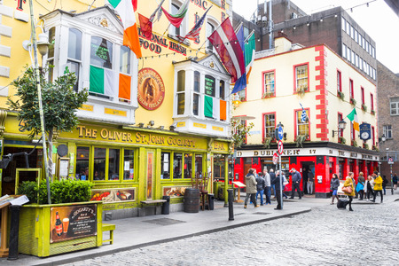 Photo for Tourists walking in the Temple Bar area, Dublin, Ireland - Royalty Free Image