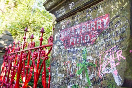 Photo for Strawberry Field gate in Beaconsfield Road in Woolton, Liverpool - Royalty Free Image