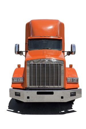 Photo pour Front view of isolated semi truck with orange cab. - image libre de droit
