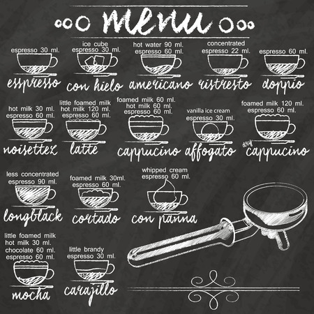 Ilustración de list the composition of the mixture of coffee hand-drawn on a blackboard. - Imagen libre de derechos