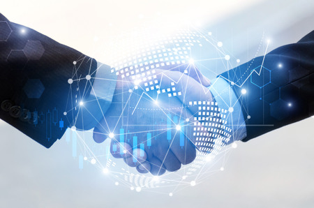 Foto de business man handshake with effect global world map network link connection and graph chart of stock market graphic diagram, digital technology, internet communication, teamwork, partnership concept - Imagen libre de derechos
