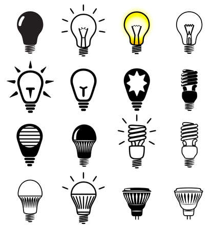 Illustrazione per Set of light bulbs icons. Vector illustration. - Immagini Royalty Free
