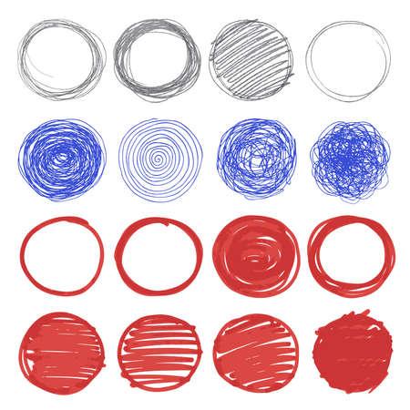 Illustration pour Set of hand drawn circles. - image libre de droit