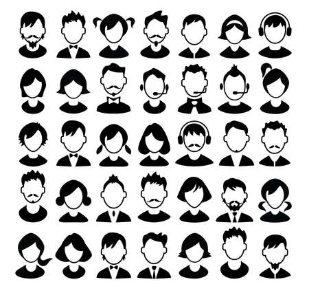 Illustration pour Set of boys and girls avatars and operator icons. Vector illustration. - image libre de droit