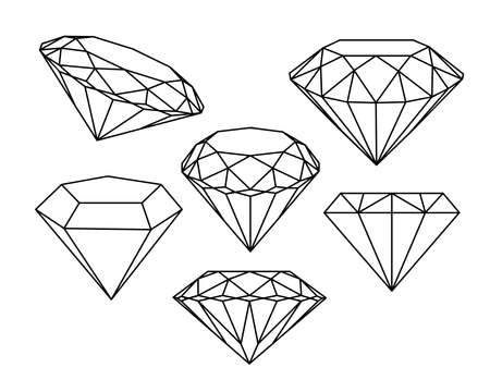 Illustration pour Set of diamonds icons. Vector illustration. - image libre de droit