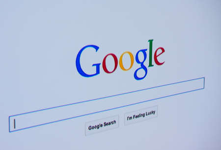 Photo for LISBON - JUNE 4, 2014: Photo of Google homepage on a monitor screen. - Royalty Free Image