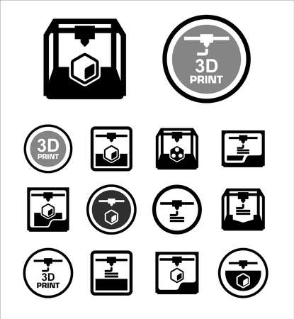 Illustration for 3D print icon set - Royalty Free Image