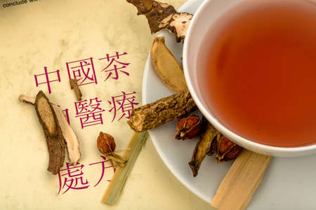 Photo for ingredients for a tea in traditional chinese medicine - Royalty Free Image