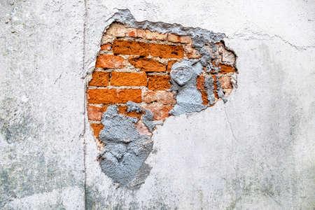 Photo pour house wall broken masonry, symbol of decay, rehabilitation needs and damage - image libre de droit