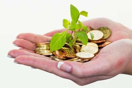 Foto de money and plant. save icon photo - Imagen libre de derechos