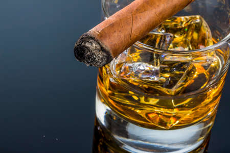 Photo for whiskey and cigar - Royalty Free Image