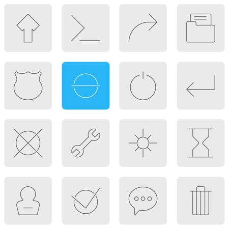 Foto de illustration of 16 UI icons line style. Editable set of e-mail, sand clock, arrow icon elements. - Imagen libre de derechos