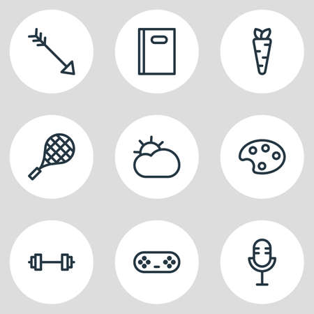 Illustration for Vector illustration of 9 entertainment icons line style. Editable set of game controller, arrow, book and other icon elements. - Royalty Free Image