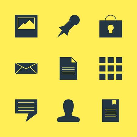 Foto de illustration of 9 web icons. Editable set of user, document, message and other icon elements. - Imagen libre de derechos