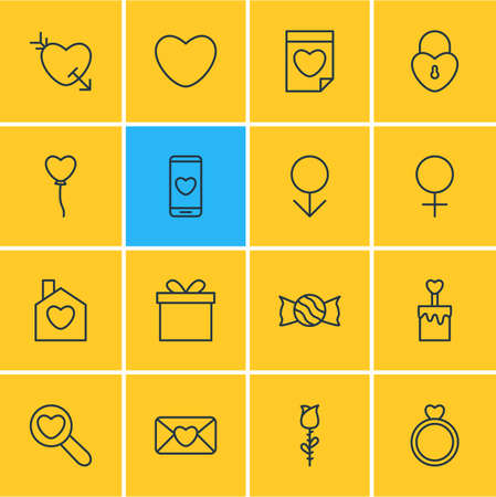 Foto per illustration of 16 passion icons line style. Editable set of mail, locker, house and other icon elements. - Immagine Royalty Free