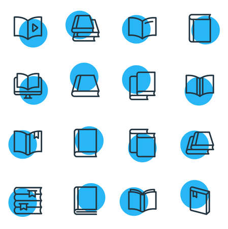 Illustration for Vector illustration of 16 read icons line style. Editable set of bookstore, bookmarking, tutorial and other icon elements. - Royalty Free Image
