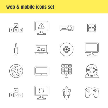 Photo for illustration of 16 computer icons line style. Editable set of sleep mode, universal serial bus, smartphone and other icon elements. - Royalty Free Image