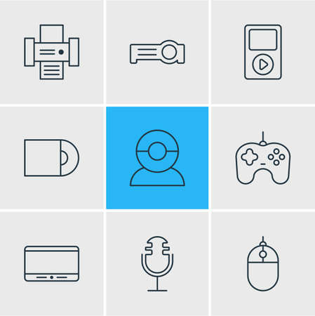 Photo for illustration of 9 accessory icons line style. Editable set of mp3 player, microphone, printer and other icon elements. - Royalty Free Image