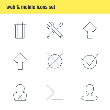 Foto de Vector illustration of 9 UI icons line style. Editable set of command line, shift, check icon elements. - Imagen libre de derechos