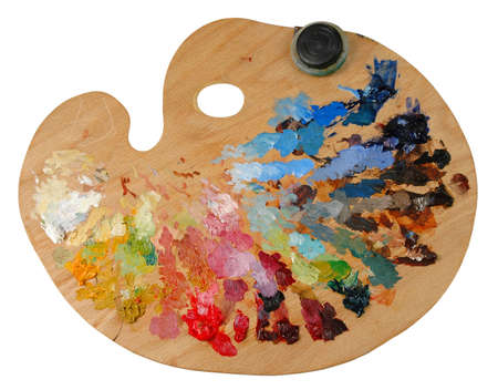 Artist\'s palette with oil colors and solvent container