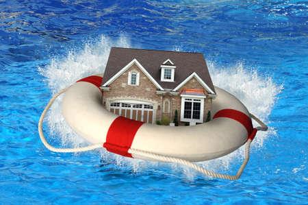 Foto de House market crisis represented by house and life preserver crashing on water - Imagen libre de derechos