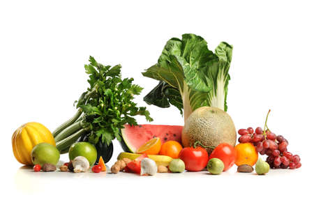 Foto für Fresh fruits and vegetables over white background - Lizenzfreies Bild