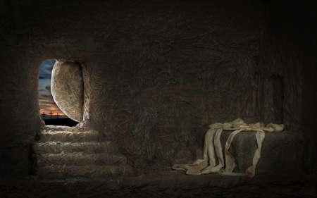 Photo pour Empty tomb of Jesus with crosses in far hill - image libre de droit