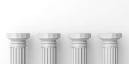 Photo for 3d rendering four white marble pillars on white background - Royalty Free Image