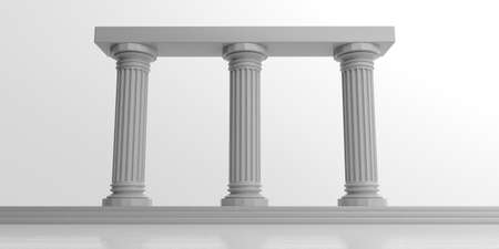 Photo for 3d rendering three white marble pillars on white background - Royalty Free Image