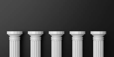 Photo for 3d rendering five white marble pillars on black background - Royalty Free Image