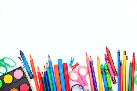 Photo pour School supplies on white background - space for caption - image libre de droit