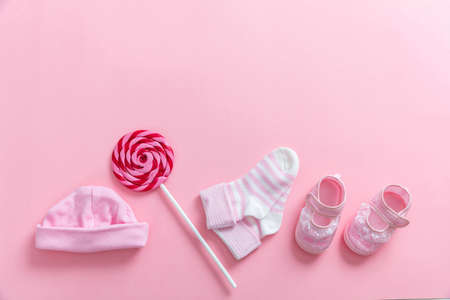 Photo for Baby girl shower concept on pink background, top view, copy space - Royalty Free Image