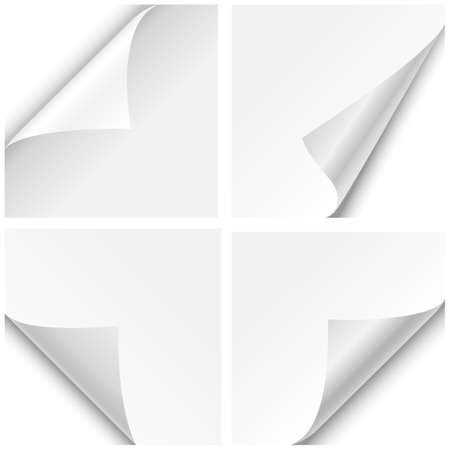 Illustration pour Paper Corner Folds - Set of four paper corner folds isolated on white background  - image libre de droit