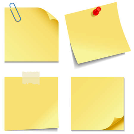 Illustration pour Sticky Notes - Set of yellow sticky notes isolated on white background  - image libre de droit