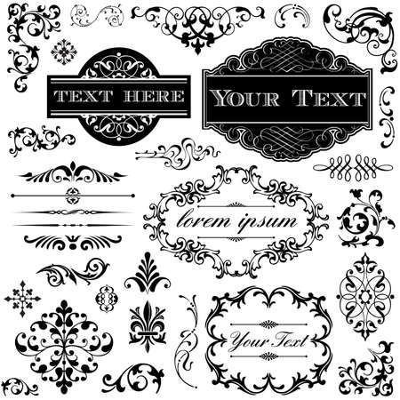 Illustration for Retro Ornament Set - Collection of Victorian style frames, scrolls and typography ornaments  - Royalty Free Image