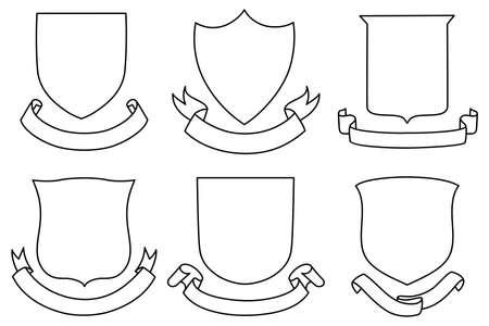 Illustration pour Shields and Banners Set - A set of shield and banner shapes - image libre de droit