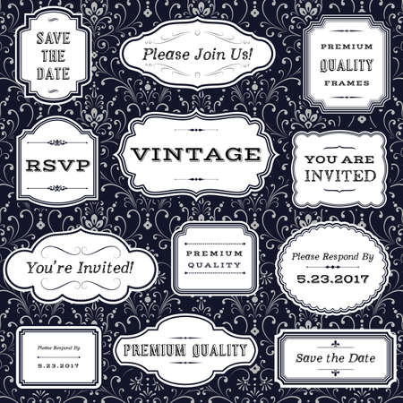 Ilustración de Vintage Frames on Damask Background- frame and label shapes on seamless damask background.  Damask background swatch is included in swatches panel.  Colors are global for easy editing. - Imagen libre de derechos