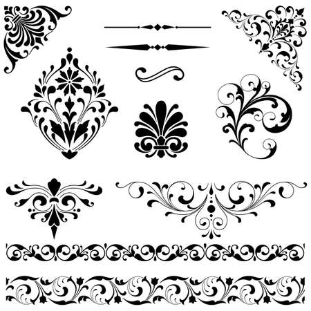 Ilustración de Ornament Set - Set of black vector ornaments including scrolls, repeating borders, rule lines and corner elements. - Imagen libre de derechos